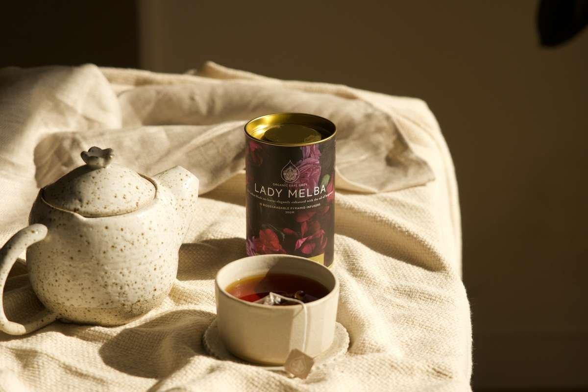 Black tea with ceramic teapot