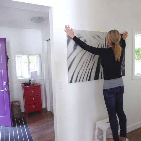 how to hang a large canvas