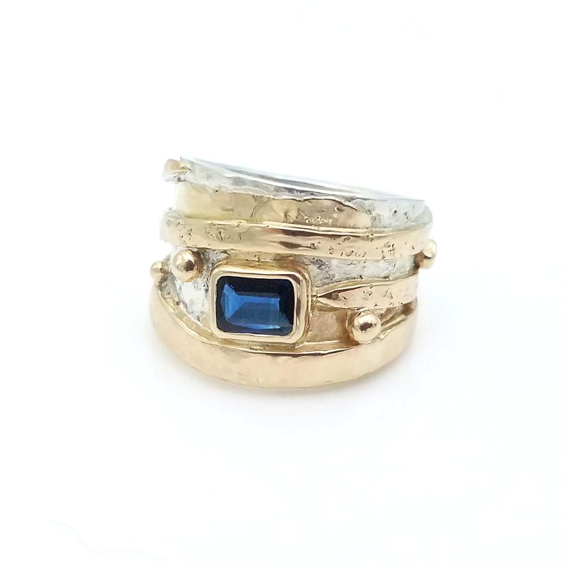 Sarah EK Muse at Studio 12-Custom Designed Ring-14k gold ring-sapphire-statement ring-jewelry redesign-celebration ring-sapphire and gold ring-Roanoke, VA