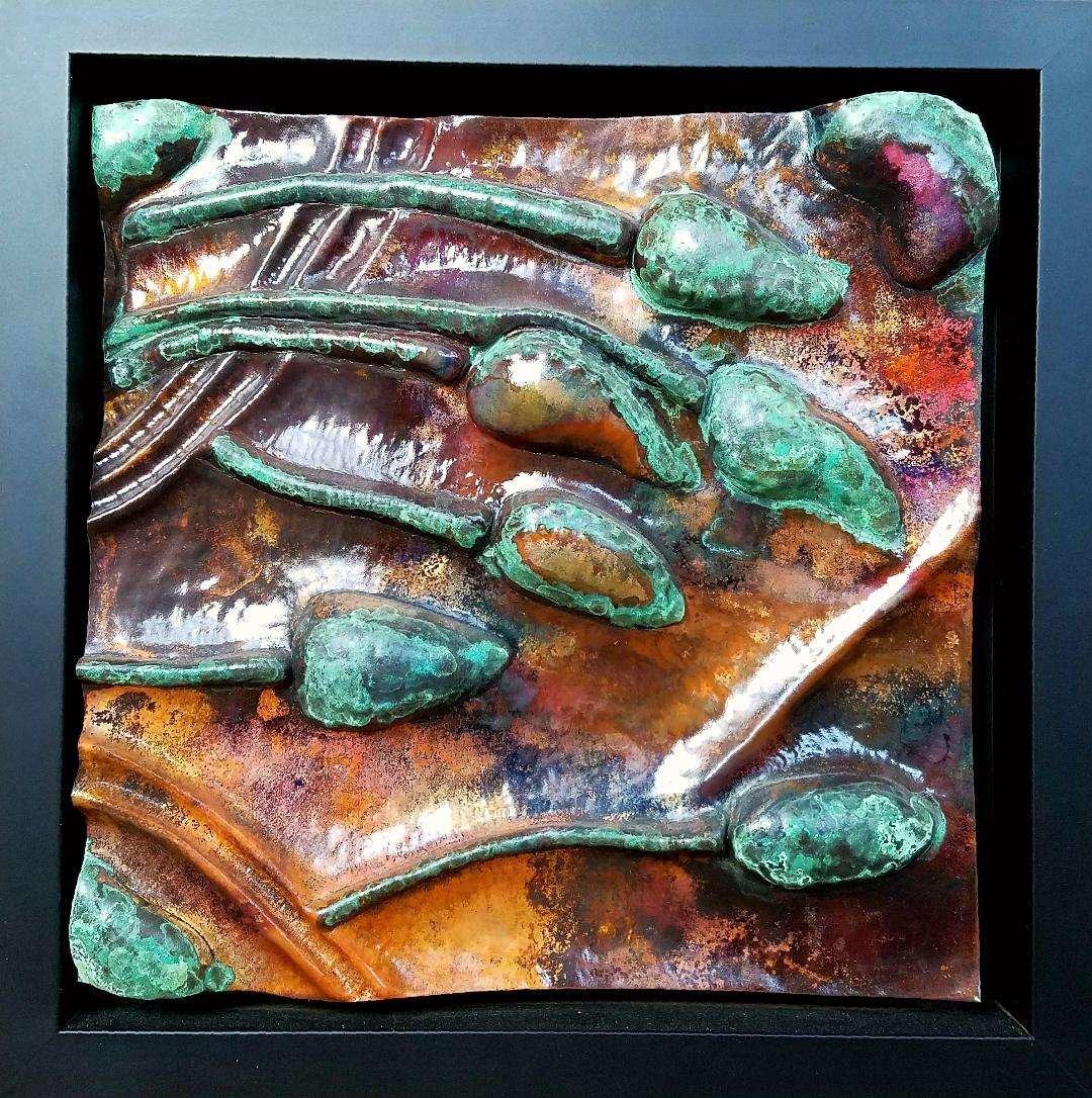 Sarah EK Muse at Studio 12 - Hand Hammered Copper In-Relief Framed