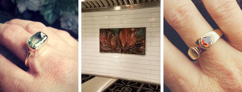 Sarah EK Muse at Studio 12, Jeweler, Designer, Metalsmith, Roanoke, Virginia, custom design, copper architectural tiles, Wall Decor, Wall Art, Copper, Interior design, Jewelry, Custom Jewelry, one-of-a-kind