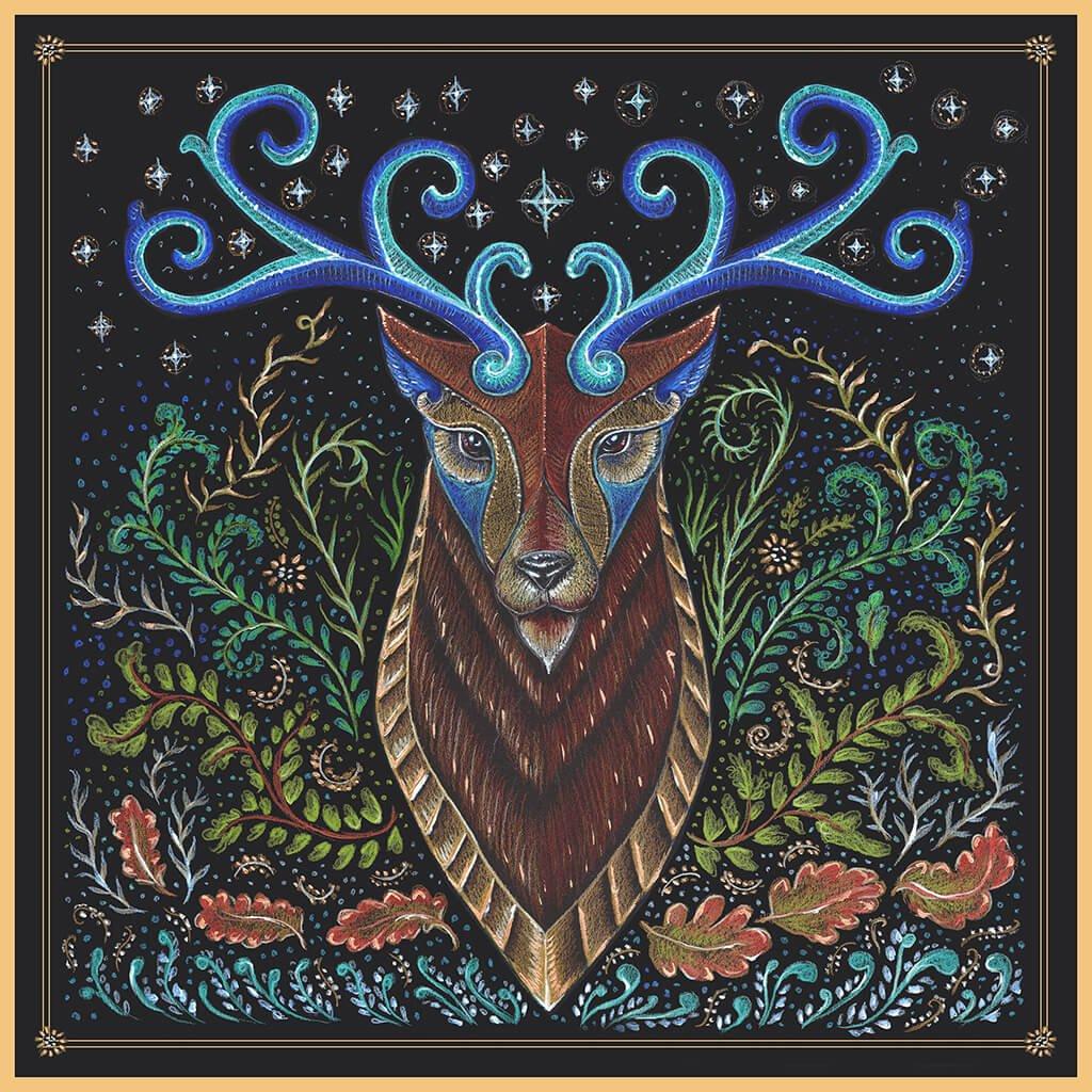 R Culturi Stag Totem Pocket Square Original Artwork