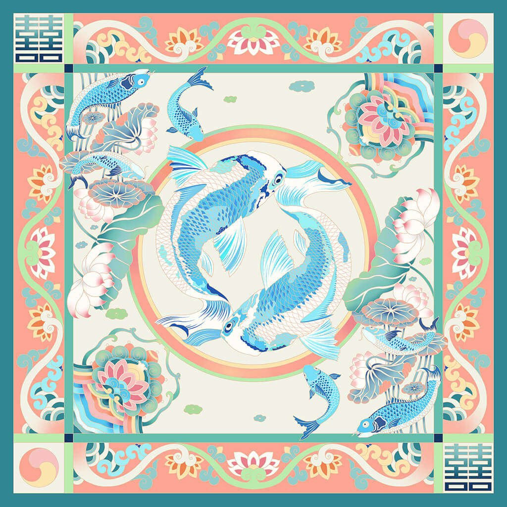 R Culturi Fish and Lotus Scarf Original Artwork