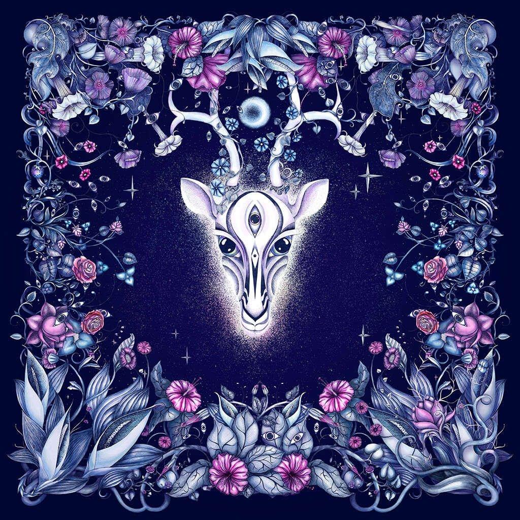 R Culturi Night Gazelle Scarf Original Artwork