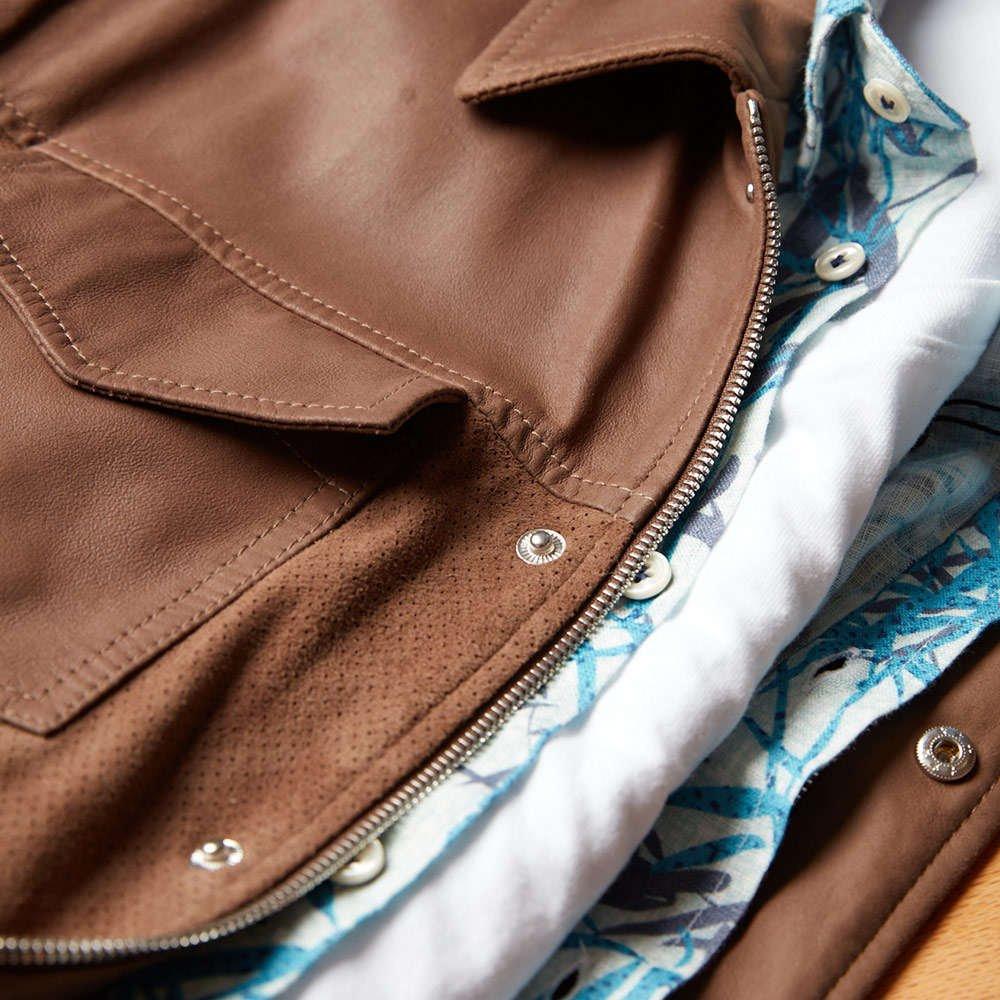 Eleventy Suede Leather Bomber Jacket