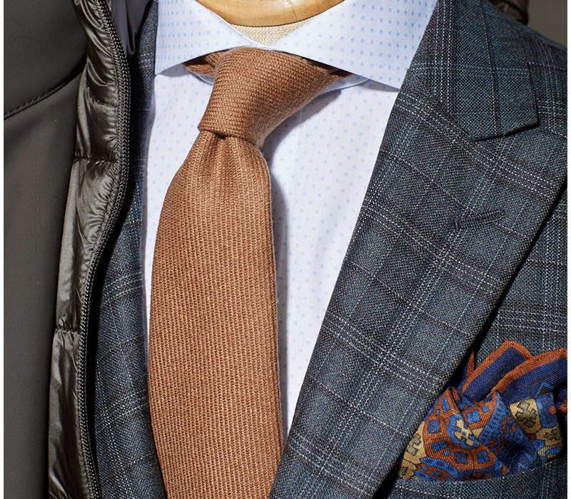 DRAKE's Handrolled Self-Tipped Camel Hair Necktie - LALONDE's