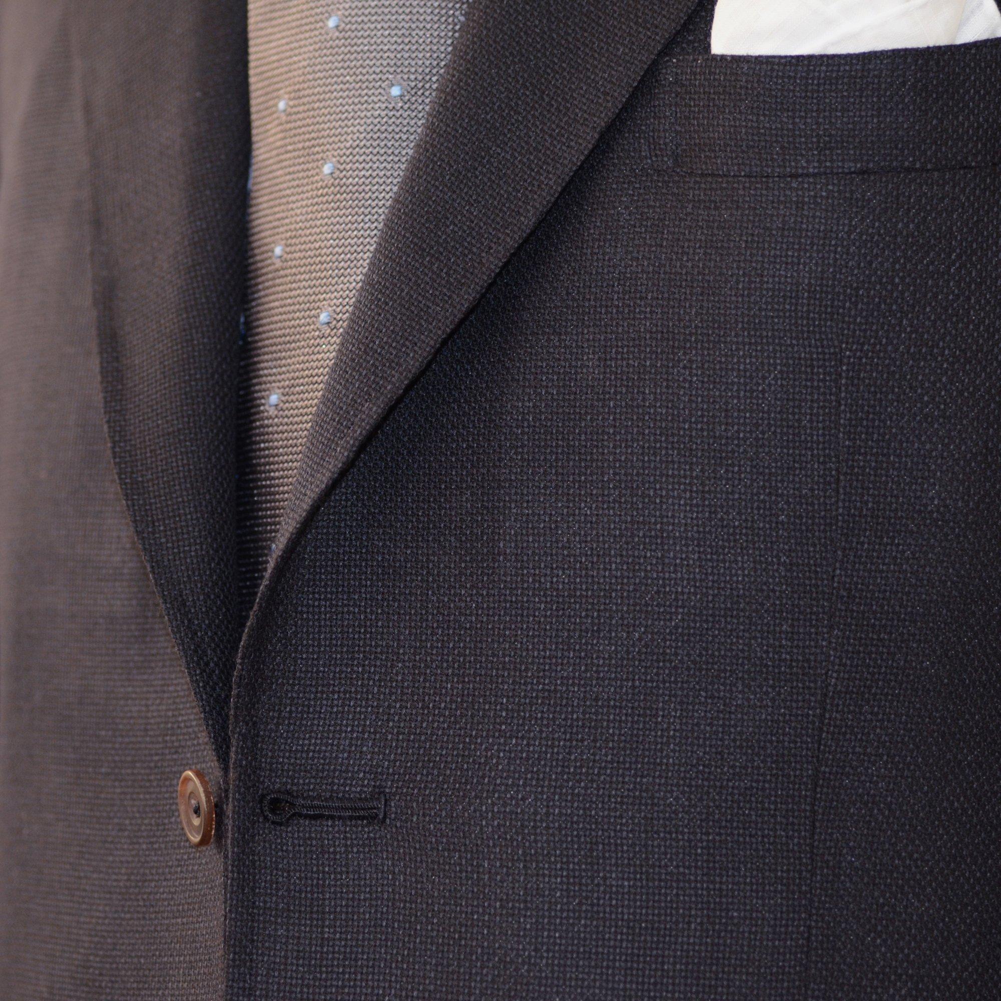 Sartoria Sciarra, bespoke tailor, bespoke jacket, Sydney bespoke tailor, Italian bespoke tailoring, soft tailoring, lapel roll, bespoke lapel, jacket lapel, hand pad stitched lapel, buffalo horn button, hand made button hole, silk button hole twist, navy bespoke jacket, cerruti navy wool and cashmere hopsack fabric, luxury bespoke, luxury tailoring, luxury jacket, luxury suit, luxury tailoring