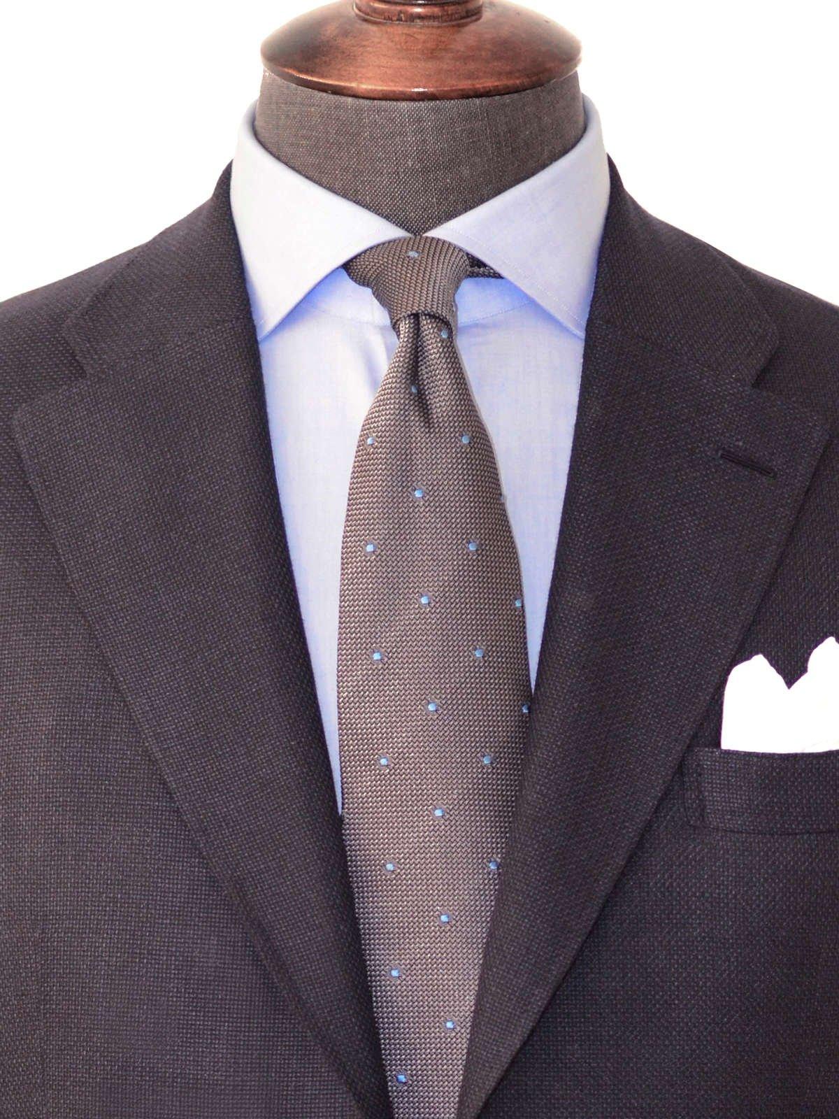 Bespoke shirt, Italian cotton shirt, luxury shirt, luxury bespoke, light blue shirt, bespoke tie, bespoke suit, navy suit, cut away collar, silk grenadine tie