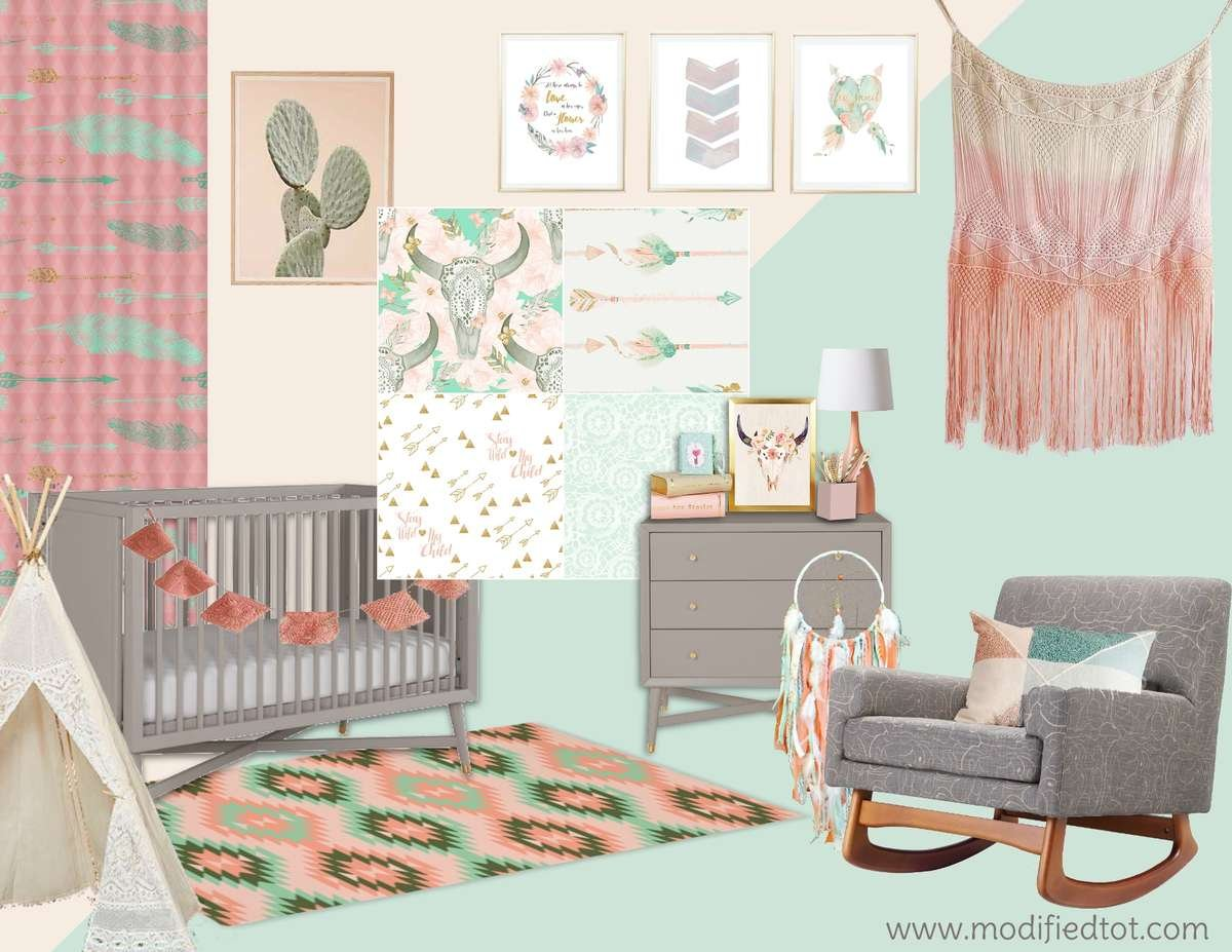 This Crib Bedding Collection Features Tees And Dream Catchers Cow Skulls Arrows All Tied Together For The Perfect Boho Nursery