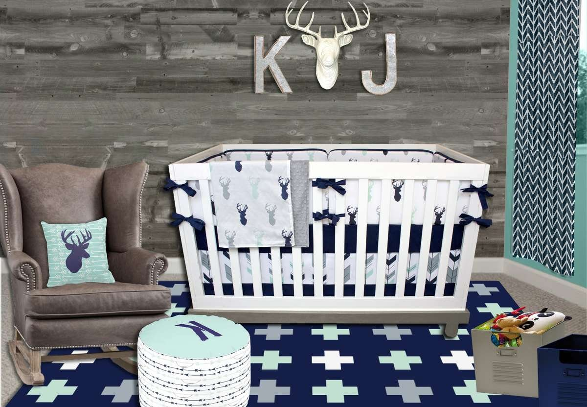 Mint Nursery Decor Moose Nursery Decor Forest Nursery