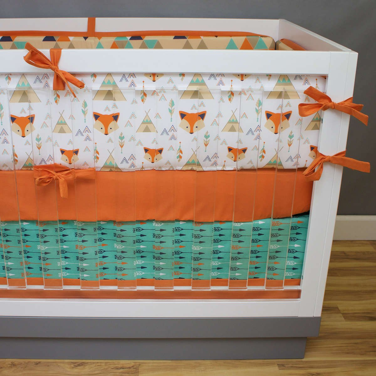 This Fox Crib Bedding Collection Features Tees Arrows And Triangles How Can You Go Wrong We Are Loving Orange Teal Navy Baby Boy