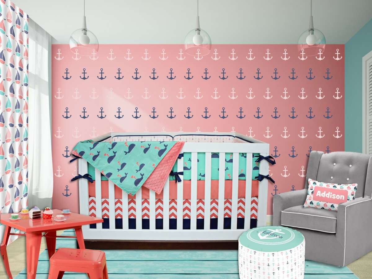 We Are Swooning Over This Baby Nautical Crib Bedding Collection You Re Sure To Fall In Love With The Sweet Whales And Coordinating Anchors