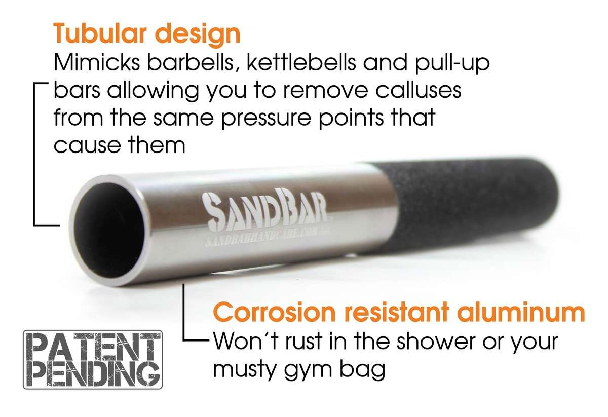Tubular design mimicks barbells, kettlebells and pull-up bars allowing you to remove calluses from the same pressure points that cause them. Corrosion resistant aluminum won't rust in the shower or your musty gym bag.