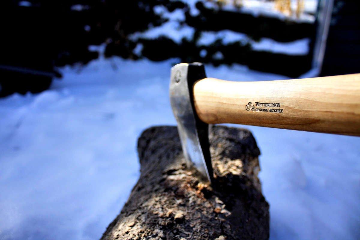 chopping wood close up log