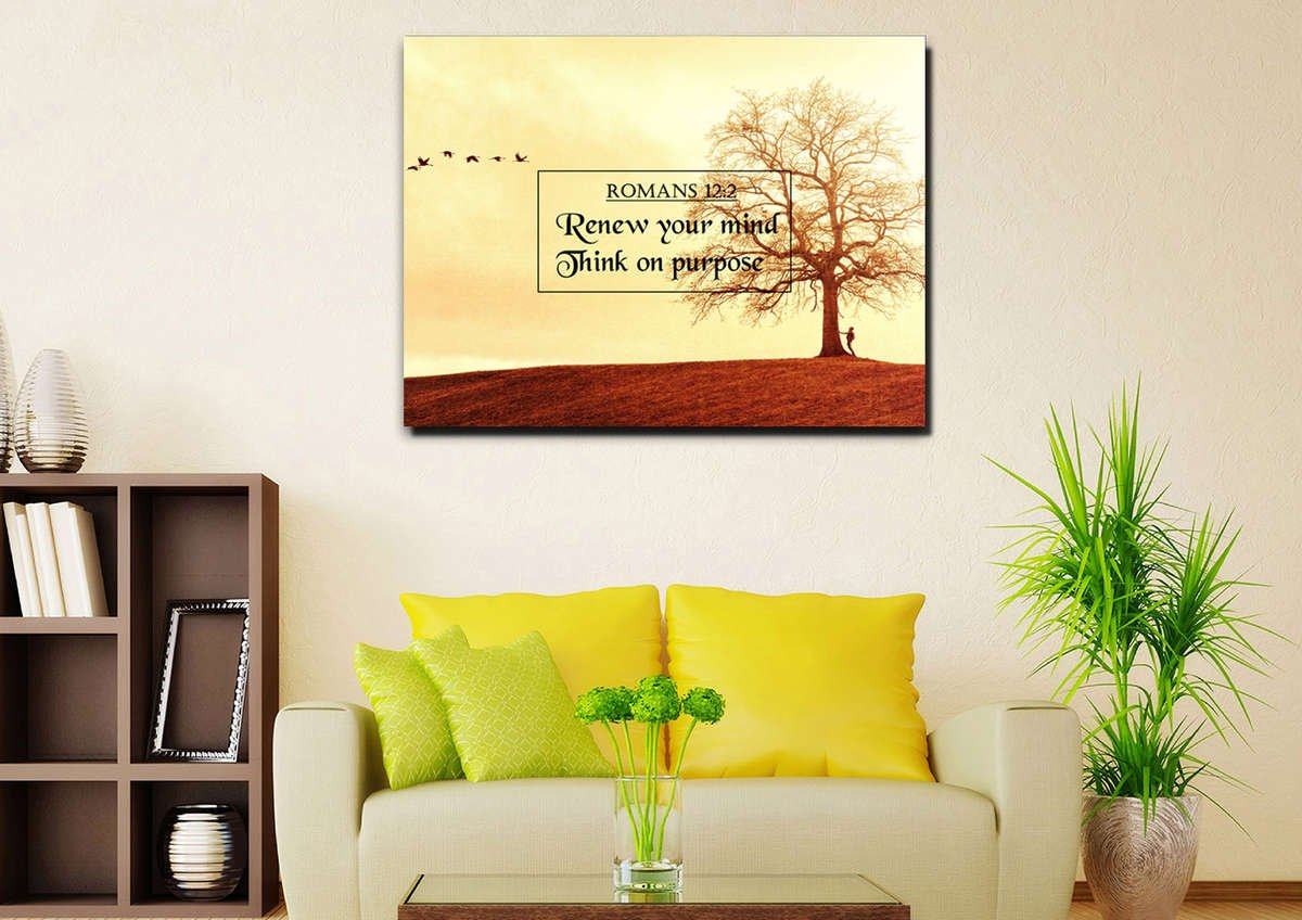 Romans 12:2 Renew your Mind, Think on Purpose Bible Verse Wall Art ...