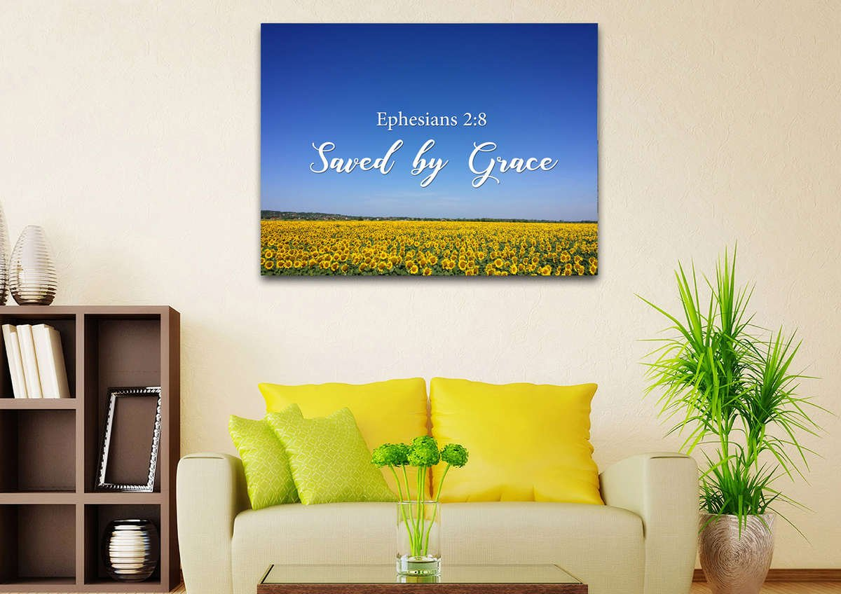 Ephesians 2:8 Saved by Grace Bible Verse Wall Art Canvas – Christian ...