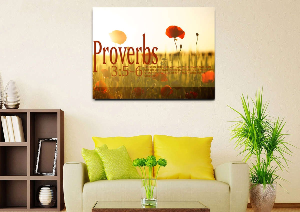 Proverbs 3:5-6 NIV #53 Bible Verse Canvas Wall Art – Christian Walls