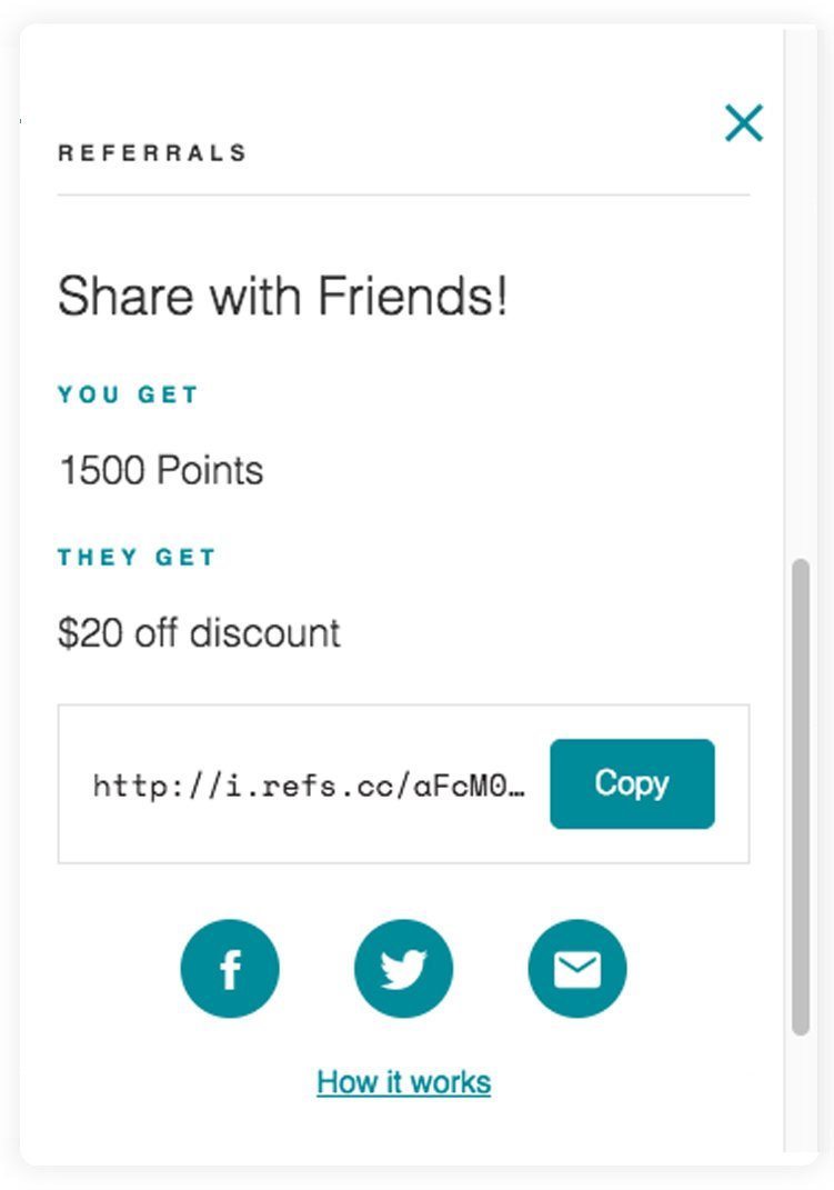 The Design Edit Loyalty Program Earning Points Screen Shot