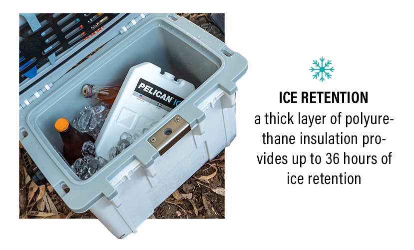 The inside of a 14QT Personal Cooler with ice, drinks, and a 2lb Pelican Ice pack.