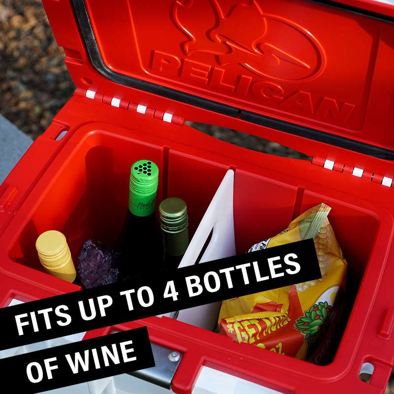 The 20QT Pelican Elite Cooler fits up to 4 bottles of wine.