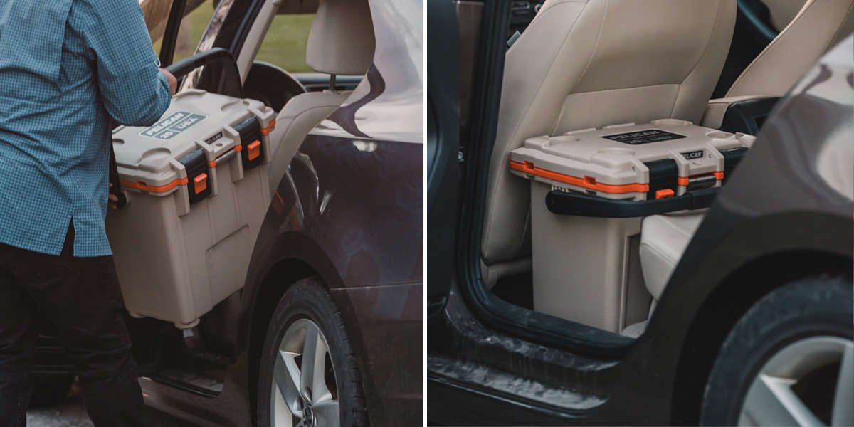 On the left, a person packs a Pelican Elite Cooler inside their car. On the right, the cooler is secure on the floor of the car behind the driver's seat.
