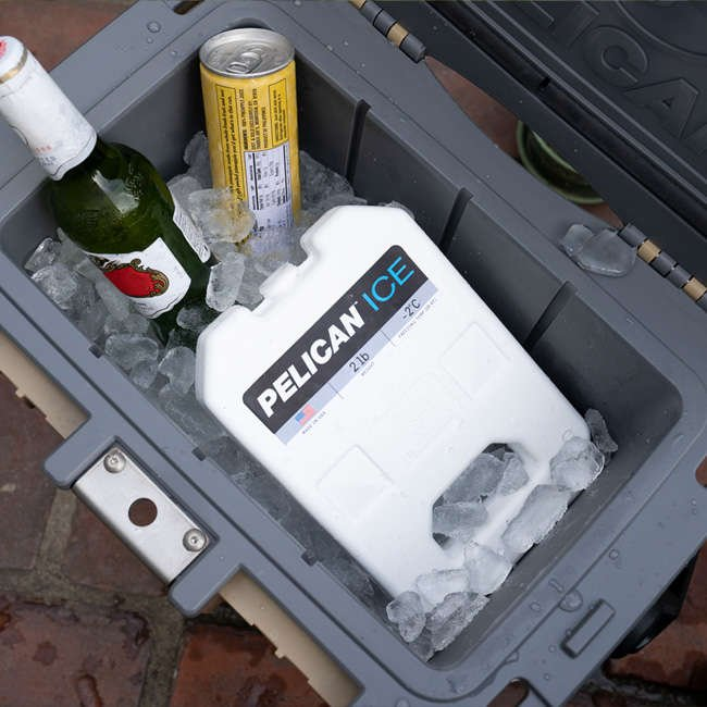 A Pelican Elite Cooler packed with drinks, ice, and a 2lb Pelican Ice pack.