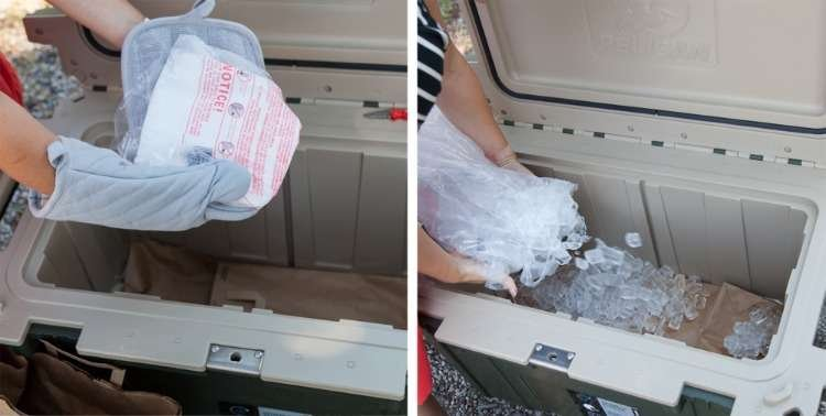 On the left a person adds dry ice to a cooler lined with paper bags. On the right the person adds regular ice on top of the dry ice, which is covered by additional paper bags.