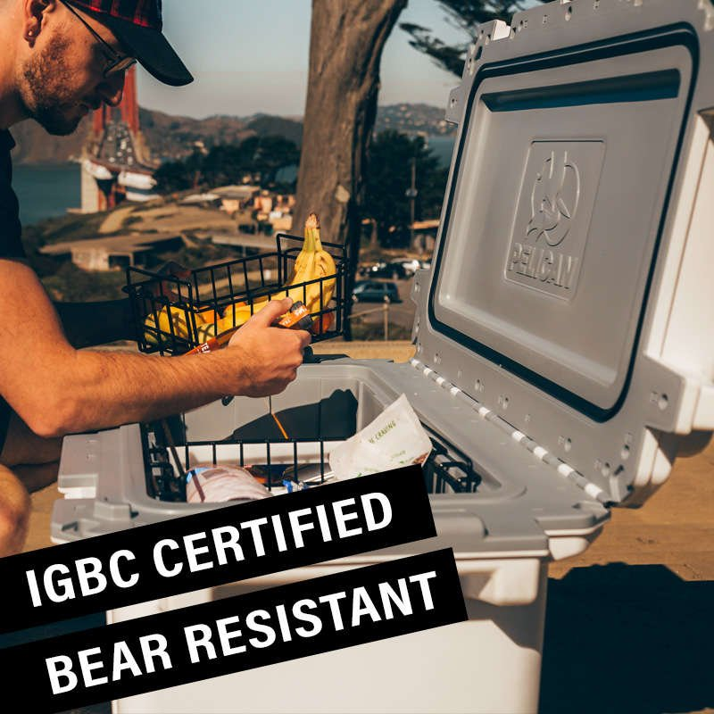 The 70QT Pelican Elite Cooler is certified bear proof from the IGBC.