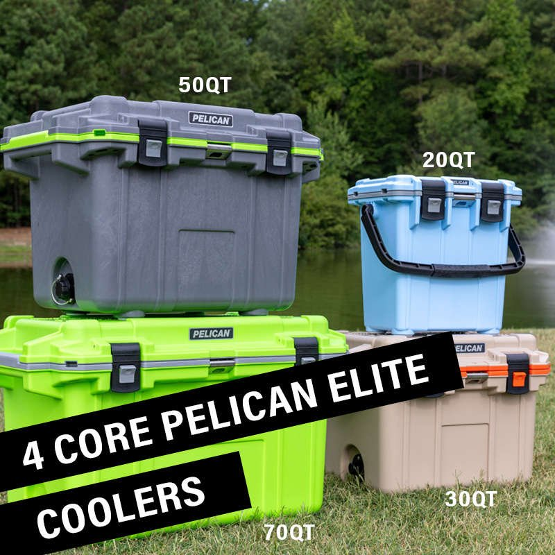 There are four coolers that make up the core of the Elite Cooler line: the 20QT, 30QT, 50QT, and 70QT.