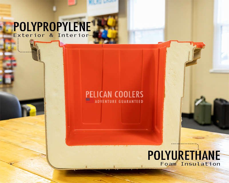 What Pelican Elite Coolers are made of. Polyurethane foam insulation and polypropylene exterior & interior.