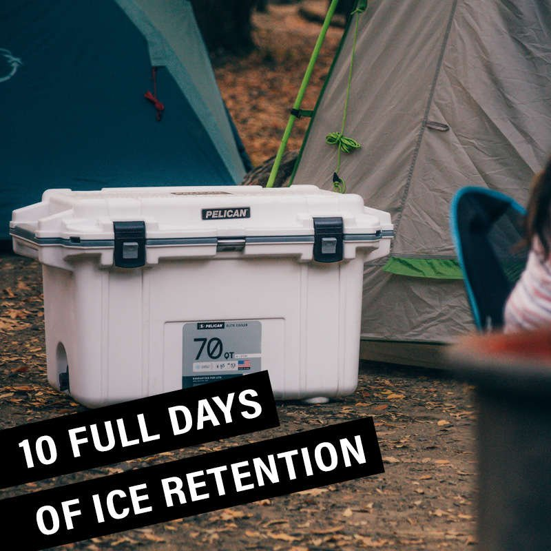 The 70QT Pelican Elite Cooler holds ice for 10 full days.