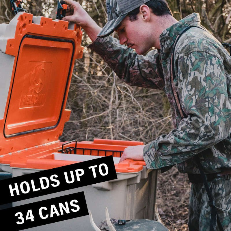 The 50QT Pelican Elite Cooler holds 34 cans with ice.
