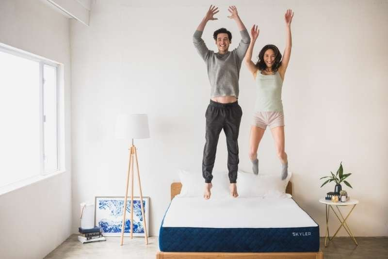 Skyler mattress couple jumping