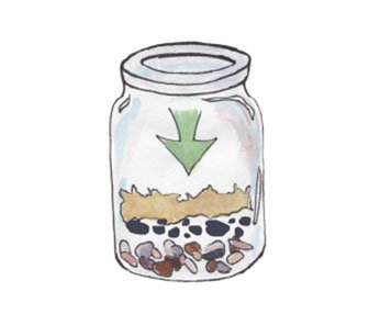 adding charcoal and moss layers to a terrarium jar
