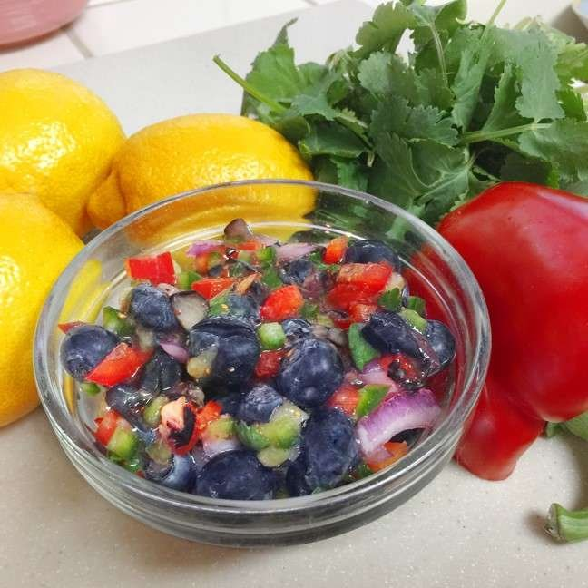 Blueberry salsa in glass bowl