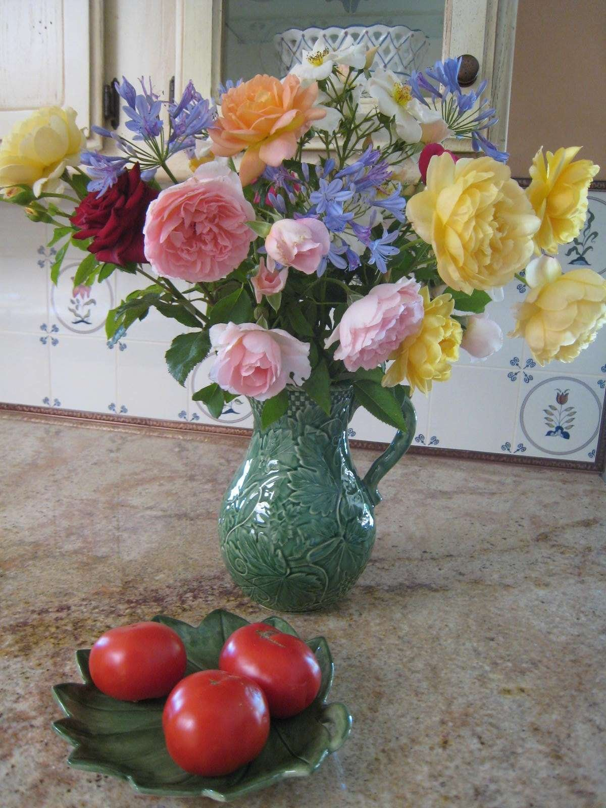 Roses in vase on counter
