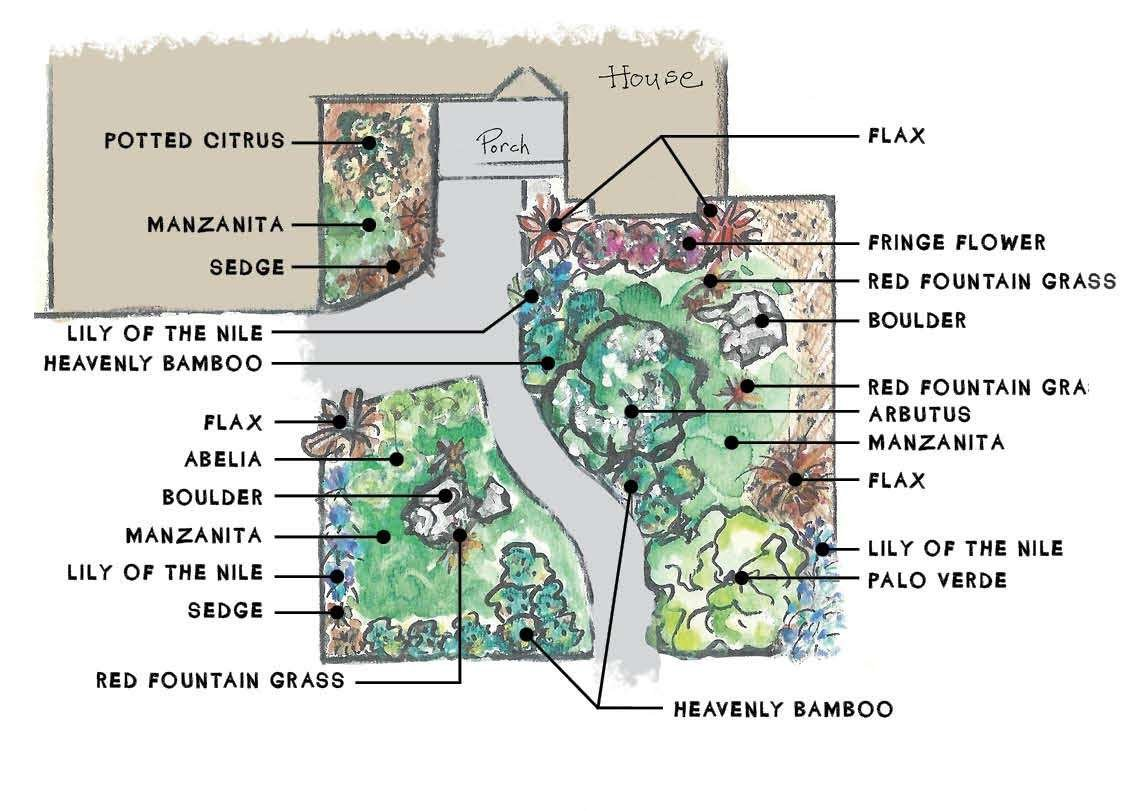 Mediterranean Landscape Plant Diagram