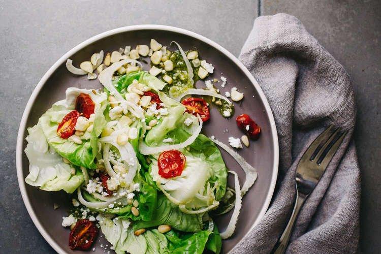 Roasted tomato & corn salad on plate