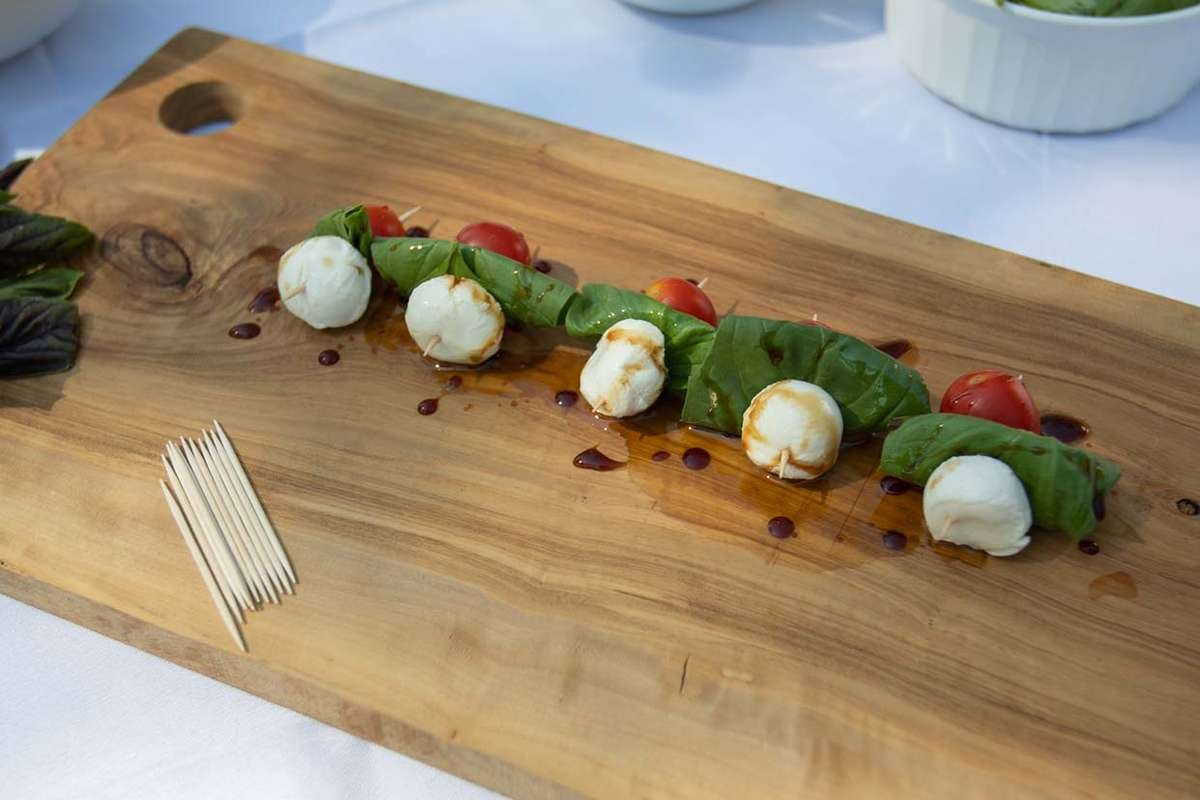 Caprese Skewers on a Cutting Board