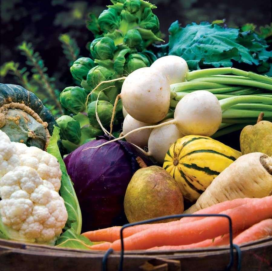 Basket full of cool-season veggies
