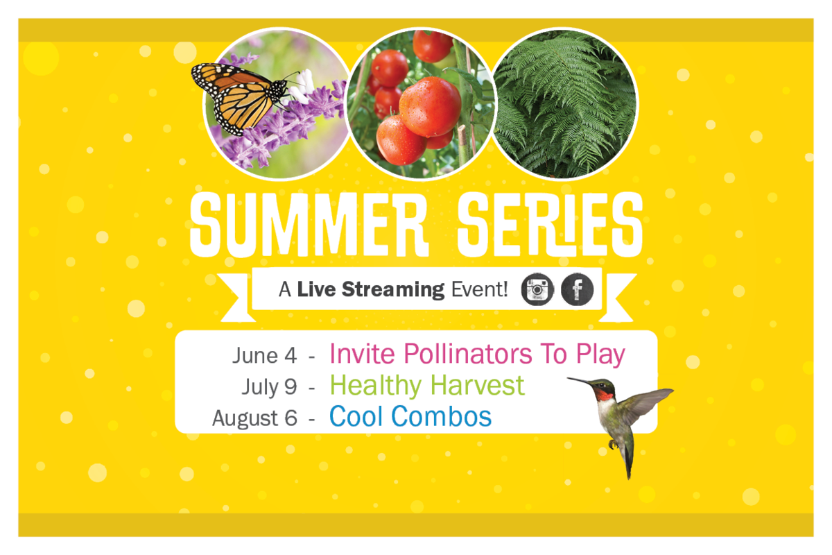 Summer Series. A Live Streaming Event! June 4: Invite Pollinators ToPlay. July 9: Healthy Harvest. August 6: Cool Combos.