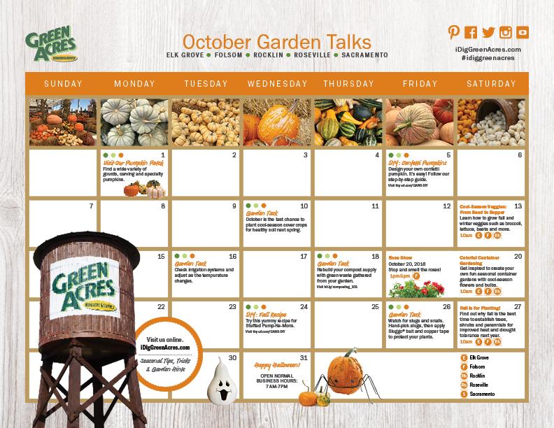 October 2018 Calendar of Events