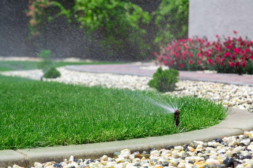 Sprinkler on lush, green lawn