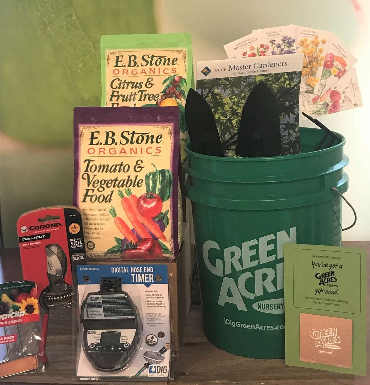 Gift Bucket filled with Gardening Items and a $100 Gift Card