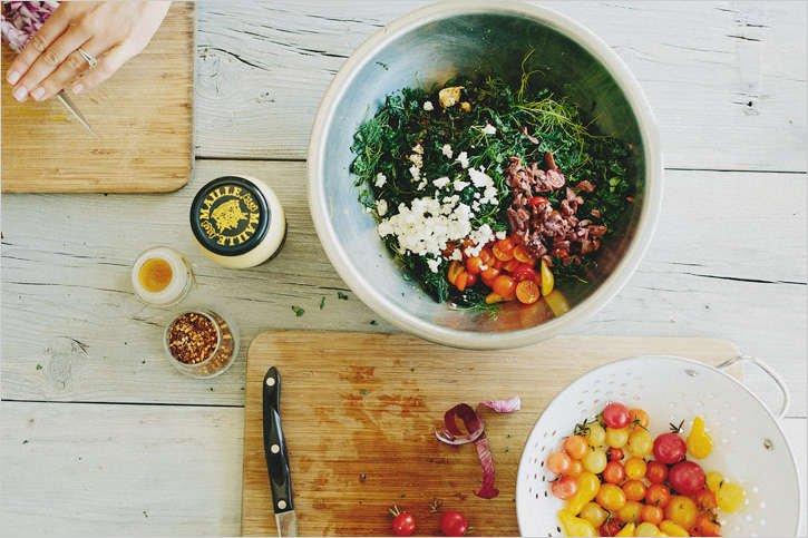 Salad ingredients in bowl