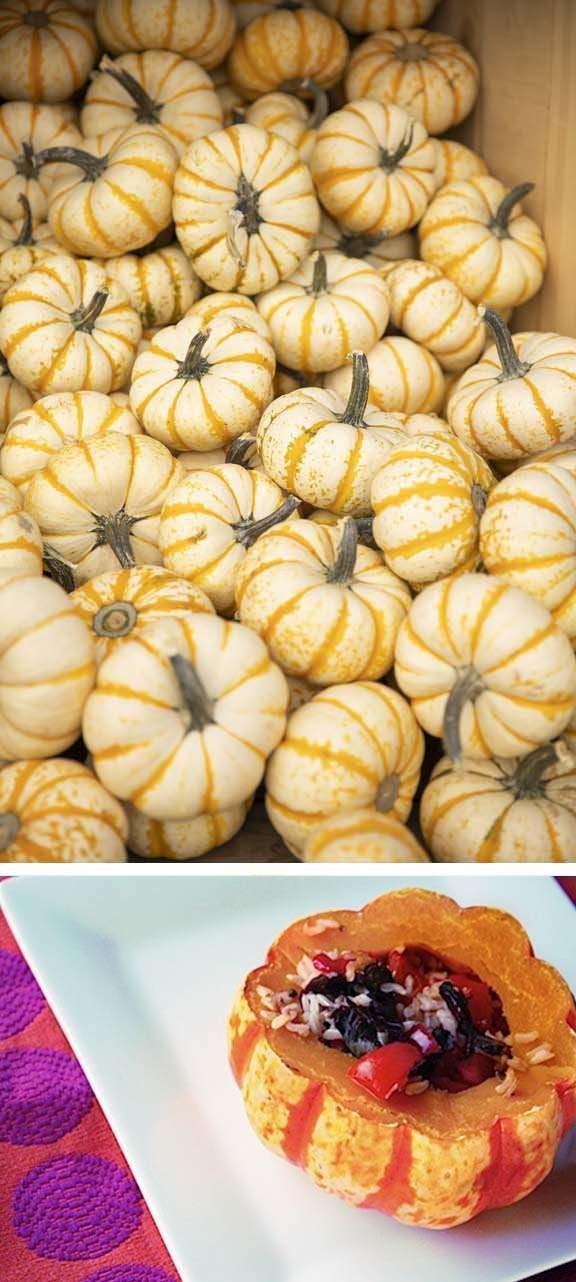 Fresh Pump-Ke-Mon pumpkins and a cooked pumpkin on white plate