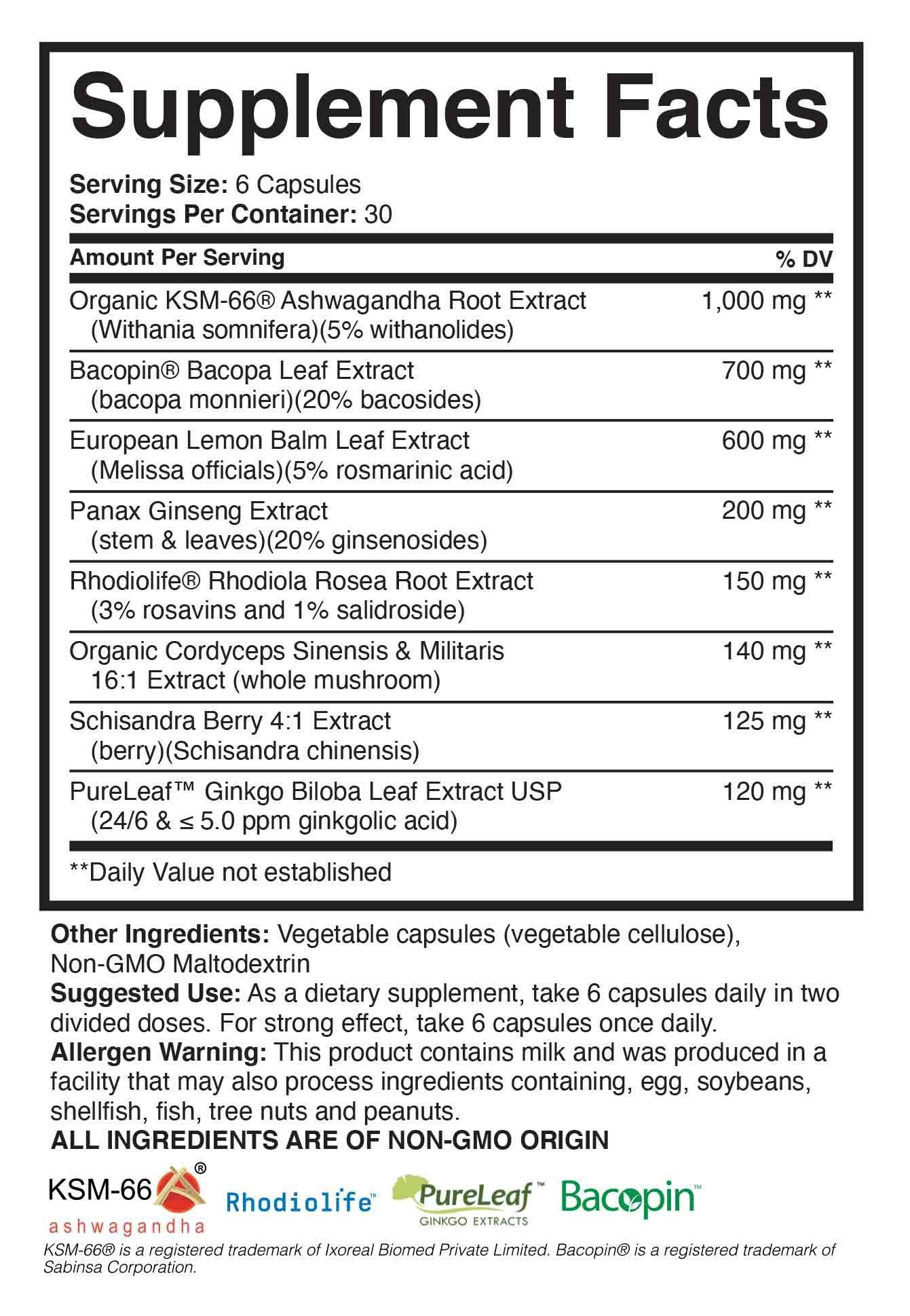Brain Forza Work Juice Herbal Adaptogen Label