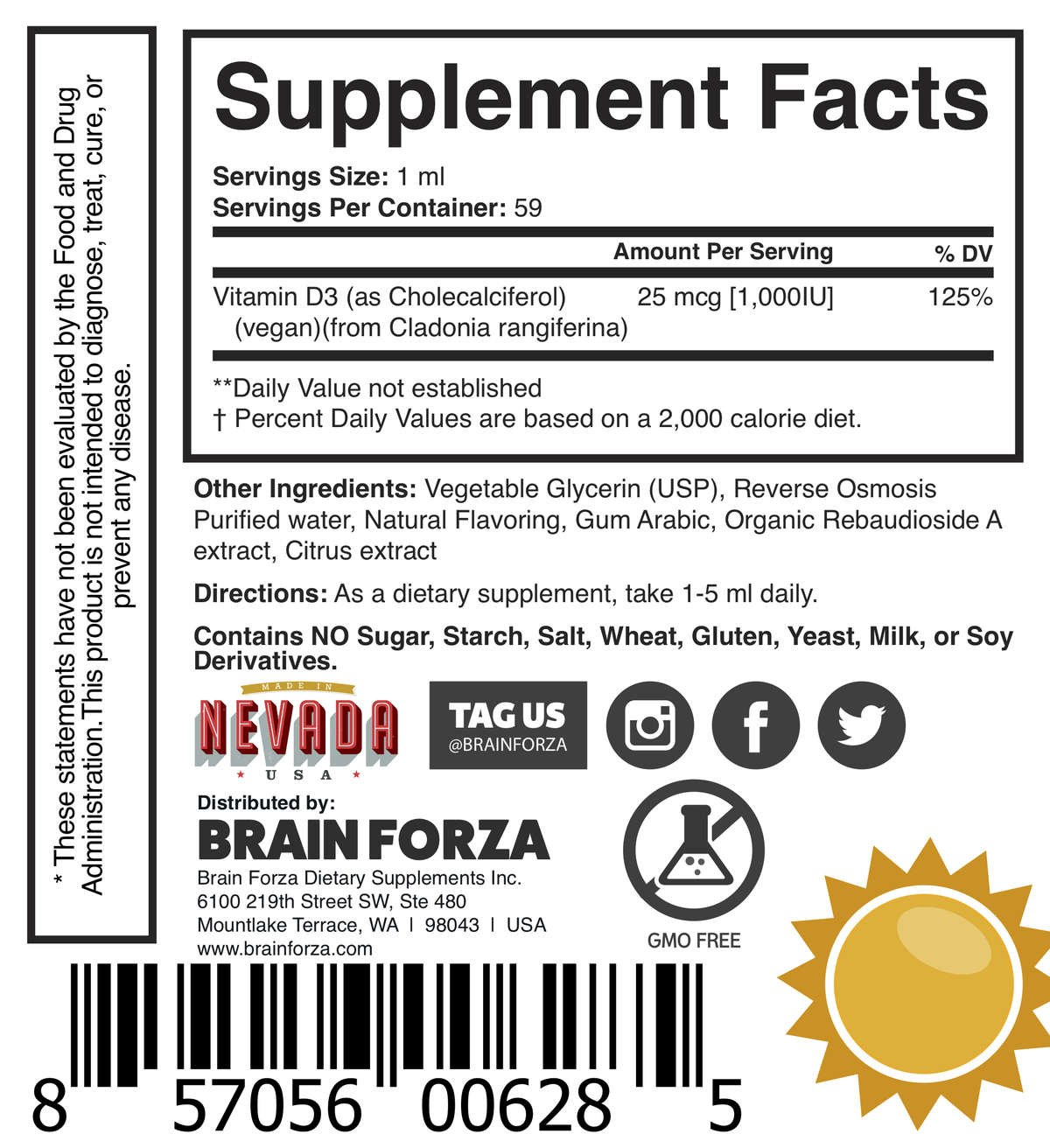 Brain Forza Natural Vegan Vitamin D3 Liquid 1000ui daily tincture