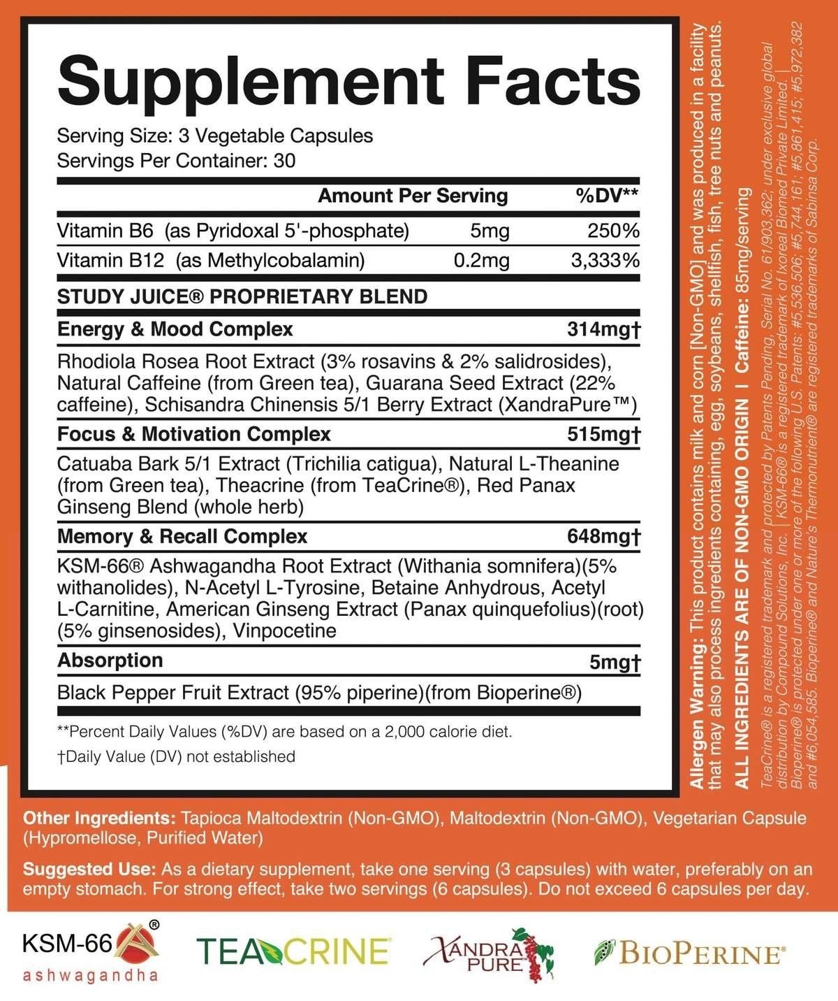 Brain Forza Study Juice Label