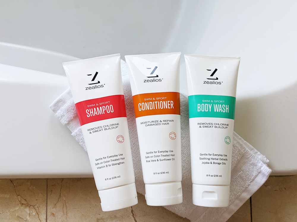 Zealios Shower & Swim products remove chlorine & sweat